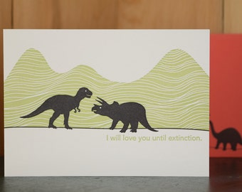 Extinct Love - letterpress love card