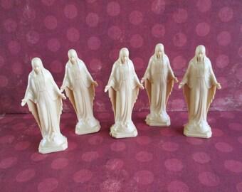 Set of 5 Little Vintage Plastic Virgin Marys