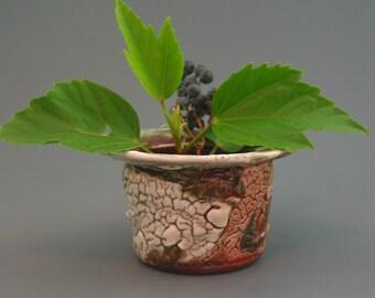 Ikebana Vase/Kenzan, wood-fired stoneware w/ crawling shino