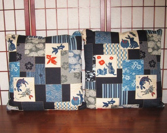 Accent Pillow Zippered Covers Set of 2 Japanese Patchwork Look Design 20 inch Blue