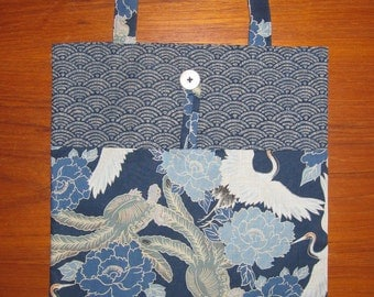 Tuck and Roll Fold-Up Portable Shopping Tote Japanese Cranes, Turtles and Peonies Design