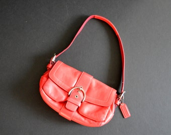 Coach Soho Hobo Bag {Small Red Leather Shoulder Purse Buckle Handbag Traditional  Satchel Metal Hardware}