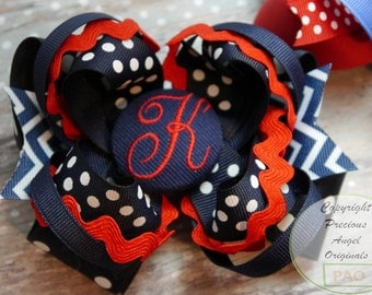Monogrammed Initial Button Layered Boutique Hair Bow  You choose the colors.  Completely custom. Can be made to match your outfit.