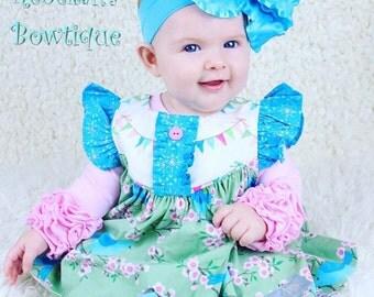 Turquoise baby headband, double ruffle hair bows, turquoise infant headband, hair bows for girls, blue baby headband, pageant wear, 5 inch