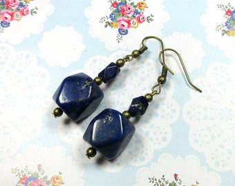 Lapis Lazuli Antique Bronze Earrings