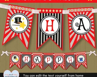 Magic party banner / INSTANT DOWNLOAD printable birthday banner magician party theme #P-8 - You can edit text from home with Adobe Reader