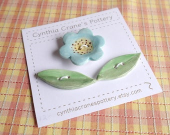 Ceramic Button Set, Porcelain Clay, Turquoise Flower Button with Lime Green Leaves