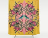 floral and geometric fabric shower curtain- birds- roses- yellow and pink- bathroom decor- boho home decor