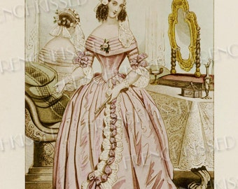 Elegance Historical French Fashion Series 1841 Lady in Pink Ribbon and Lace Antique French Postcard Digital Scan