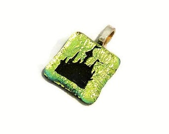 SALE! - Disney Princess Castle Necklace Pendant - Gold Castle Dichroic Fused Glass Jewelry - Great Gift