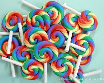 FAKE LOLLIPOP - CLAY Rainbow Swirl 5 pc