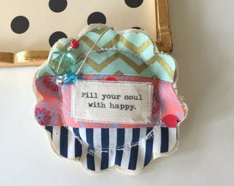 Happy Soul fabric scrap modern patchwork lavender sachet ornament, flower shape sewn sachet flower hanging pillow happy soul sachet No. 74