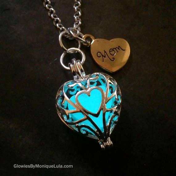 Mothers Day Mom Gift Glow Heart Jewelry Necklace with Charm