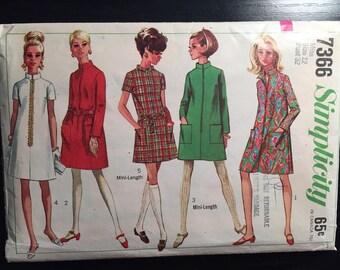 """Vintage 1960's Simplicity Women's Dress Pattern #7366 Sz 12, Bust 32"""" - OH - Vintage Simplicity / 60s Simplicity / 60s / Mini Dress Patternd"""