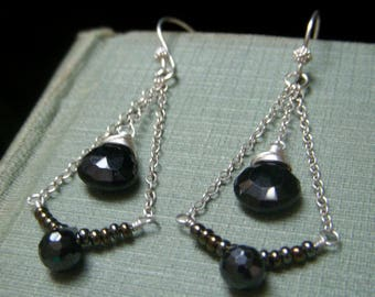 Black Spinel Earrings Sterling Silver, Spinel Chain Earrings, Black Chain Earrings, Black Gemstone Earrings, Sterling Teardrop Earrings
