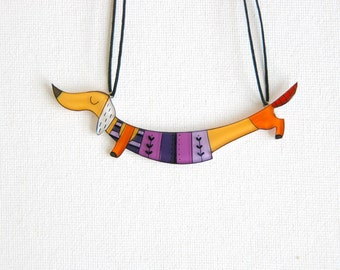 Dachshund jewelry - Purple dachshund dog necklace - Illustrated colorful jewelry - gift for her