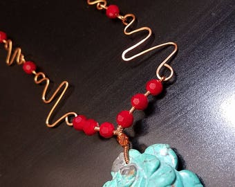 Leveche - copper turquoise hand hammered necklace