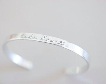 Take Heart Bracelet - Take Heart Cuff Bracelet - Skinny 1/5 inch