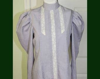 Vintage 1980s Victorian Style Woman's Shirt Puffed Sleeves