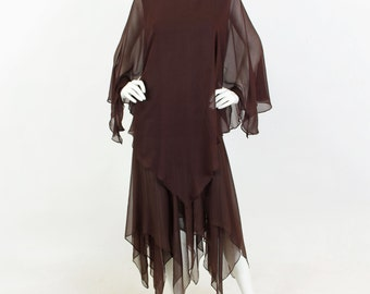 1970's Vintage Brown Chiffon Whimsical Handkerchief Hem Flowy Dress