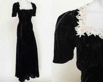 1930s Black Velvet Dress --- Vintage Formal Dress