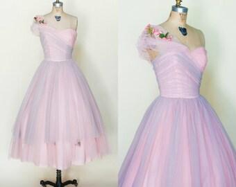 1950s Prom Dress --- Vintage Pink Strapless Dress