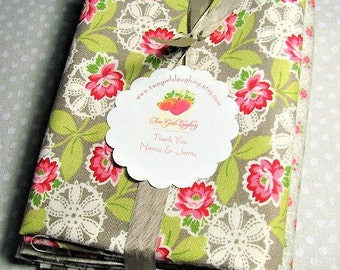 Quilt Fabric Bundle | Three Fat Quarters | Quilt Stash | Quilters Bundle | Acorn Quilts | Moda | Pink Gray Lime Green Fabric Bundle
