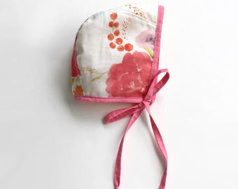 Floral Watercolor Cotton Print Bonnet, Baby and Toddler Sizes