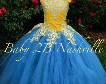 Smoke Blue Dress Gold Dress Yellow Flower Girl Dress Princess Dress Tulle Dress Lace Dress Wedding Dress Toddler Dress Tutu Dress Girl Dress