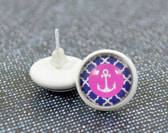 Pink White Anchor Studs - Round Glass Dome White Anchor Earrings