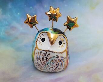 Rainbow Ceramic Fairy Owl Sculpture with Gold