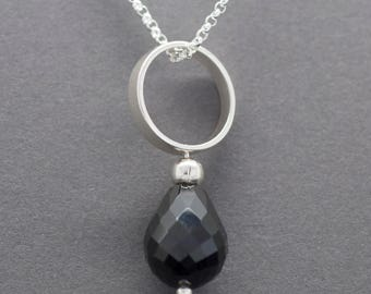 Black Spinel, Sterling Silver Circle Pendant