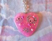 80s necklace, Spottie Dottie fairy kei resin jewelry Sanrio accessories 90s candy chunky glitter statement
