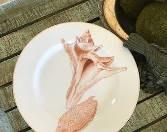 Fitz and Floyd Set of 6 Conquille Pattern Salad Plate Peach Shells Conch Summer Nautical Theme Ocean Beach Theme White Background TYCAALAK
