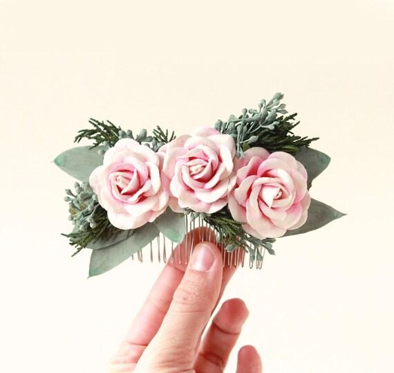Eucalyptus rose hair comb, Woodland bridal comb, Natural foliage, Pink flower wedding hair comb, Unique bridal alternative, Spring wedding