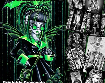 Set 5 - Grayscale Printable Coloring Book - Myka Jelina Art - Sci fi - Cyber Goth - Digital Download - Androids - 10 Pages - Fairy Art