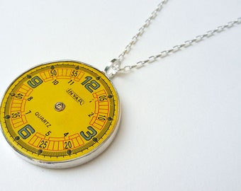 Vintage Yellow Watch Face Sterling Silver Pendant