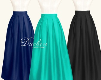 Duchess satin fully lined pleated long skirt - custom size, ankle, maxi, floor length, ball gown skirt in black, navy blue, red, white, gold