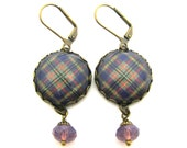 Scottish Tartan Jewelry - Ancient Romance Series - Taylor Clan Tartan Earrings with Cyclamen Opal Swarovski Crystal Beads