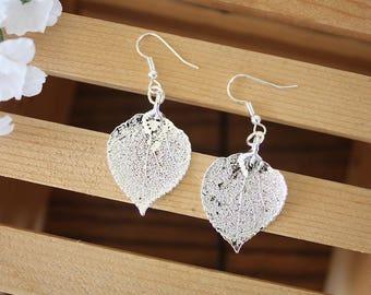 Silver Aspen Leaf Earrings, Real Leaf Earrings, Aspen Leaf, Sterling Silver Earrings, LESM162