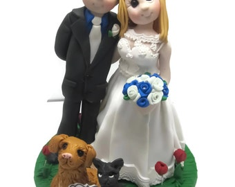 Custom cake topper, Pet Lovers wedding cake topper, Bride and Groom cake topper, Mr and Mrs cake topper, personalized cake topper