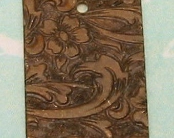 Small Rectangle Tag Charm, Vintage Patina, Embossed Floral, Trinity Brass, 4 Pc. VP54