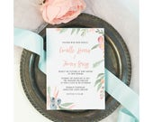 Printable Wedding Invitation Set / Wedding Invitation Suite - Watercolor, Peach Floral and greens