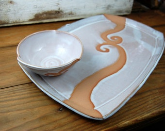 Platter and Dipping Bowl Set in Shale with Rust Waves - Made to Order