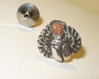 Scarab Tie Tack or Lapel Pin - Sterling Silver with Red/Orange Sapphire