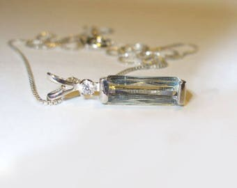 Natural Aquamarine Pendant Necklace in Solid Sterling Silver - Genuine Mined Gemstones