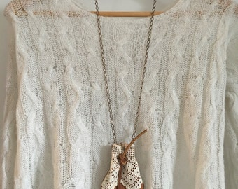 Leather Vintage Lace Medicine Pouch Necklace