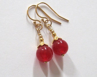 Red Jade Drop Earrings, Gold Vermeil Flower Petal Top, Gold Filled Hooks, Red Gemstone Earrings