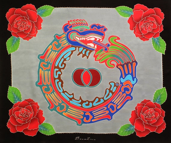 Square hand made silk scarf with Aztec sacred geometry and roses