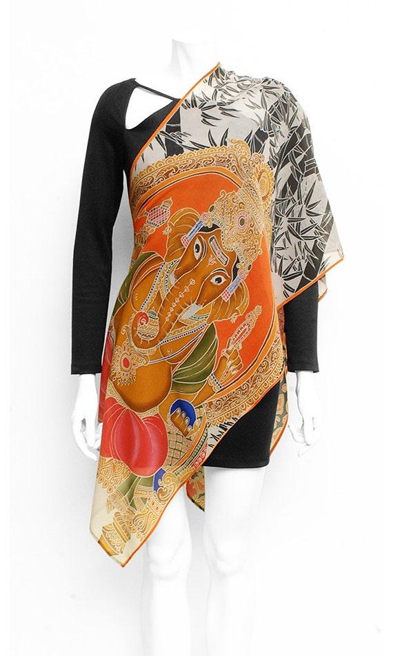 Silk scarf Handpained, buddha scarf, Ganesha scarf, Bamboo scarf, Sacred scarf, Batik handmade scarf, Long silk scarf, orange scarf